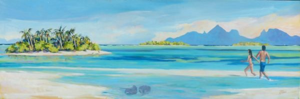 Moorea vue de l'atoll de Tetiaroa